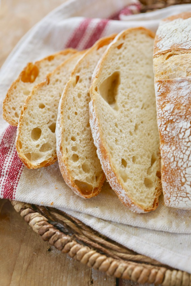 A close up of the sourdough bread slices showing the crumb inside.