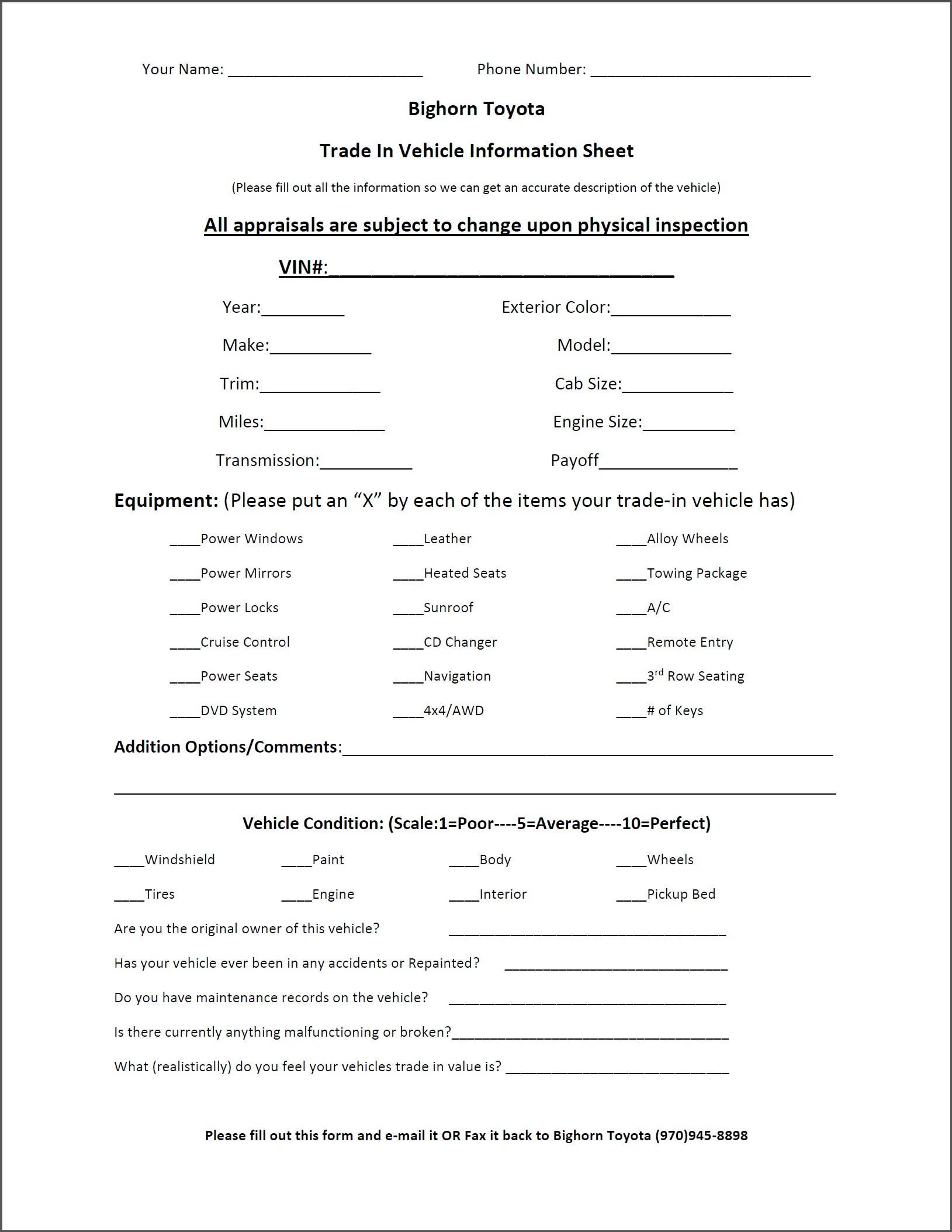 Trade Appraisal Printable Form