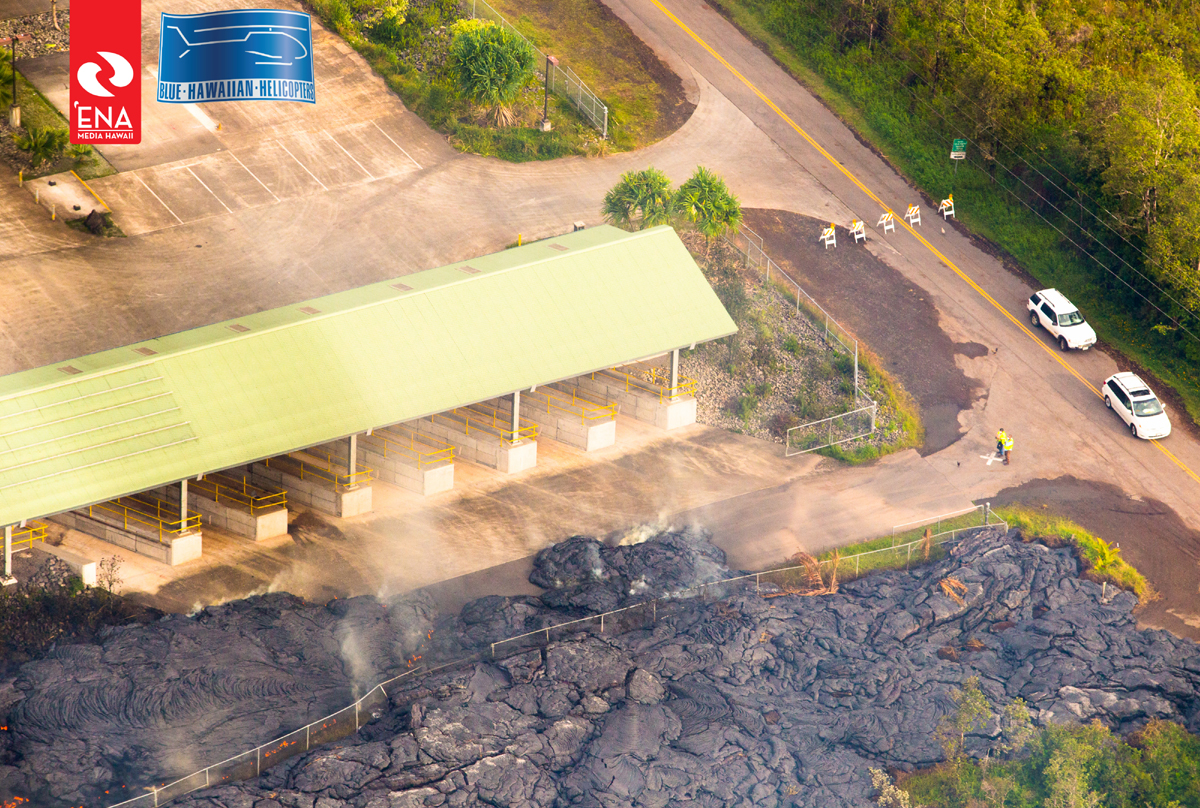 Lava continues to enter transfer station area. Photo courtesy Ena Media Hawaii on Nov. 13, 2014.