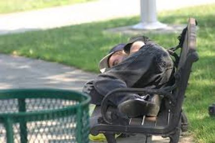 sleeping on a bench