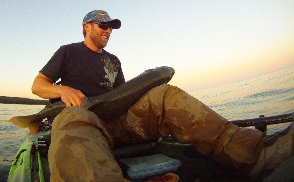 Kayak Fishing Lake Trout in Lake Superior