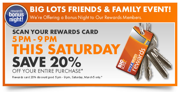 Rewards member bonus night. 5PM-9PM this Saturday. Save 20% off your entire purchase.