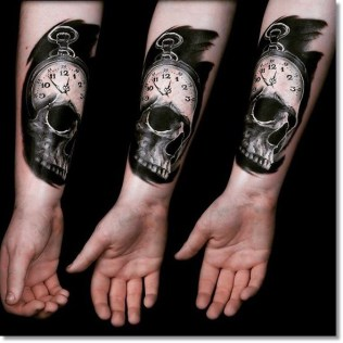 Skull-pocket-watch-tattoo-design-on-sleeve