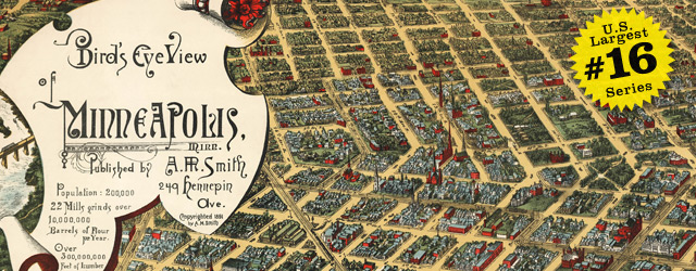 Pezolt s Minneapolis Birdseye Map  1891  Birdseye map of Minneapolis by Smith in 1891 wide thumbnail image