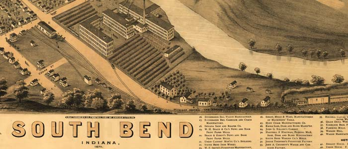 Birdseye View Of South Bend Indiana 1874