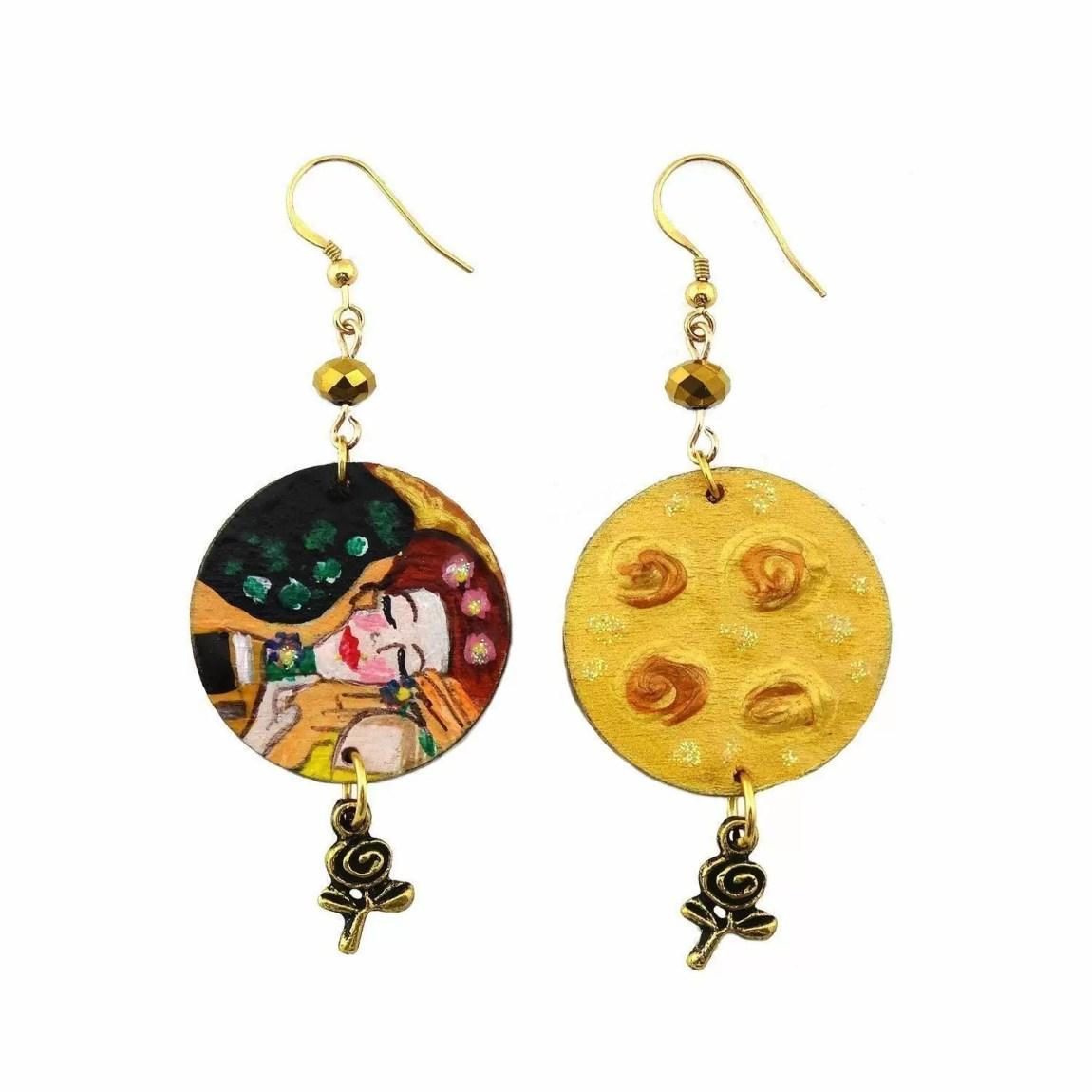 Hand painted earrings - Klimt's kiss