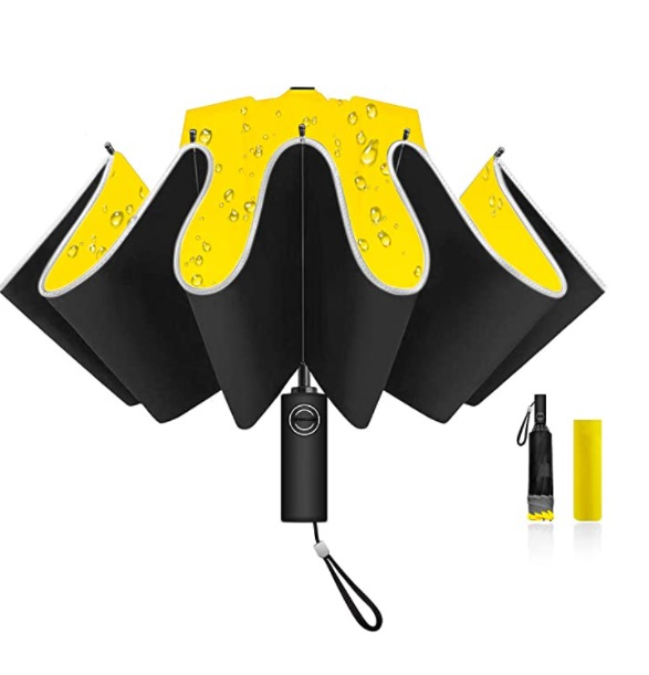 Waterproof folding umbrella with reflective stripes