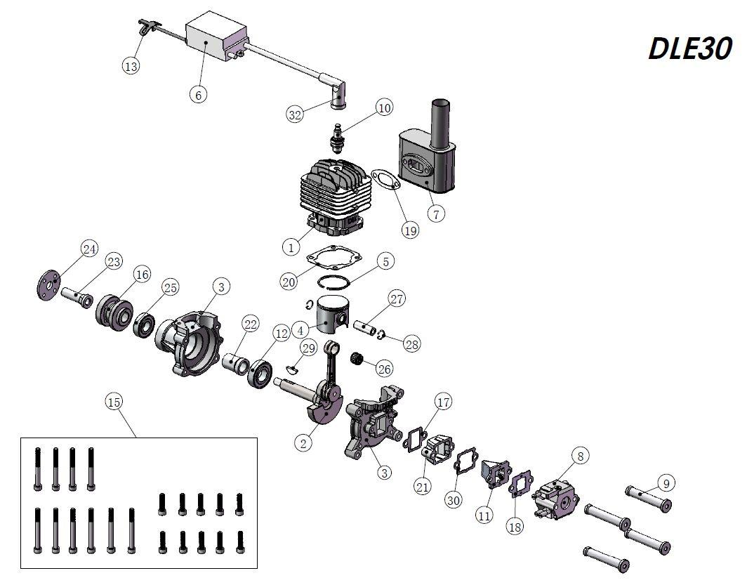 Dle30 30cc Gas Engine 30cc 3 7hp Gr