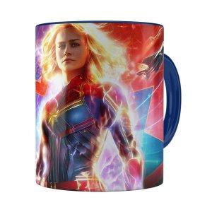 Caneca Capitã Marvel Filme V03 Azul Escuro