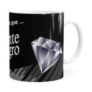 Caneca Chocolate Diamante Negro Mensagem Branca