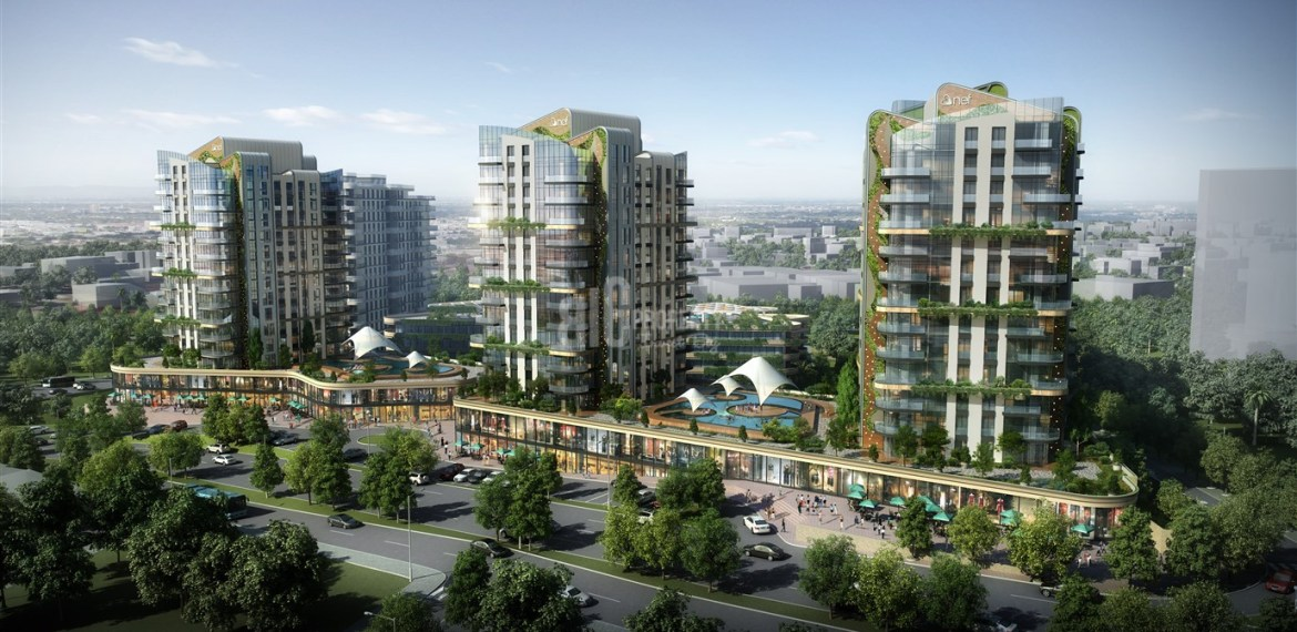 Luxury apartments for sale at city center with big green area view in Istanbul Bahcelievler