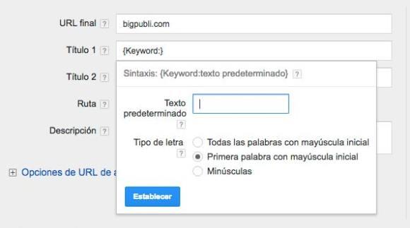 inserción de palabras clave en google adwords