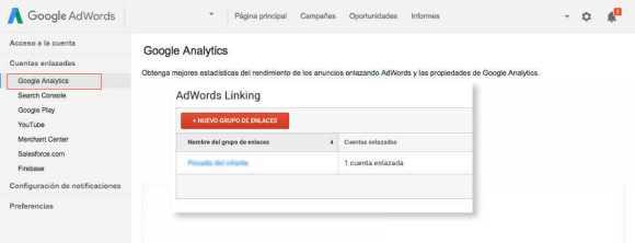 enlace cuentas de adwords y analytics