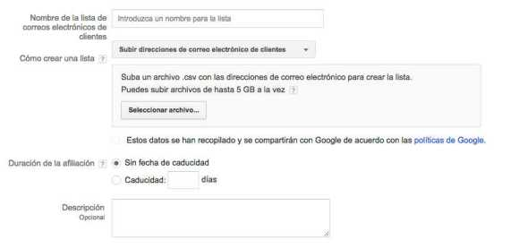 subir lista de emails google adwords