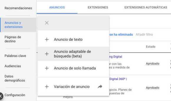 anuncios adaptables para búsquedas