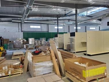 Display racks bring built at the new Big Tool Box store in Parker Colorado