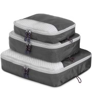 three gray packing cubes, small on top, medium in middle, large on bottom.