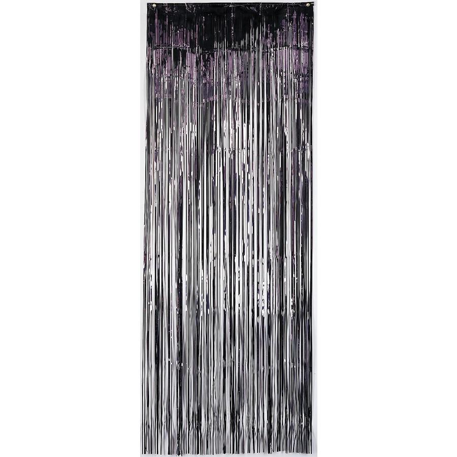 metallic curtain black