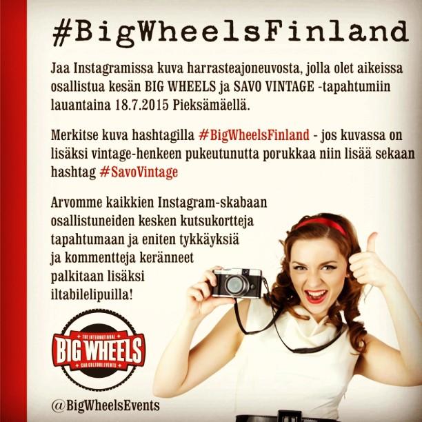 Jaa kuva harrasteajoneuvosta, jolla aiot osallistua Big Wheelsiin hashtagilla ja voit voittaa lippuja tapahtumaan!