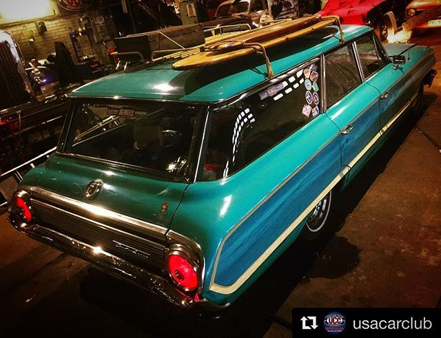 surf's up! at the @usacarclub garage - ready for the summer and BIG WHEELS!