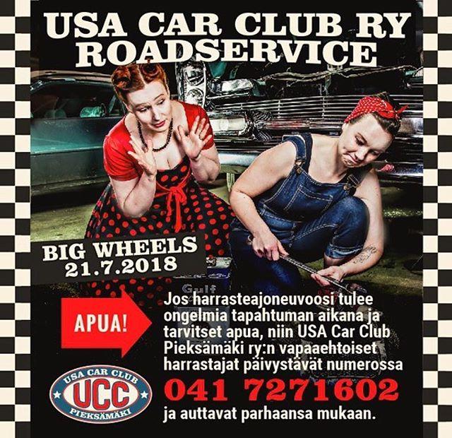 @usacarclub ・・・ USA Car Clubin roadservice päivystää taas Pieksämäellä Big Wheels -viikonloppuna (la 21.7.) ja pyrkii parhaansa mukaan auttamaan tapahtumaan osallistuvia harrasteautoilijoita mahdollisissa auto-ongelmissa.