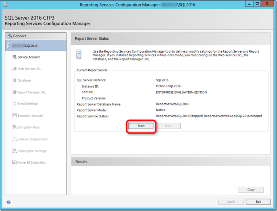 SSRS 2016 Configuration Manager 01