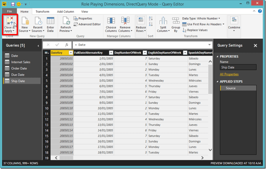 Power BI Desktop Query Editor 2