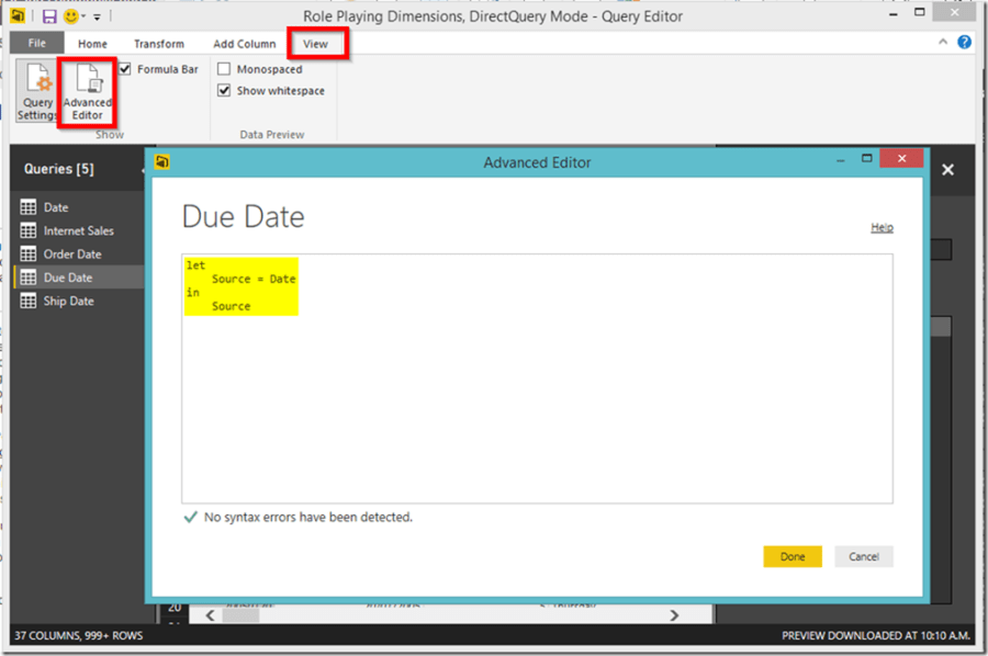 Power BI Desktop Advanced Editor