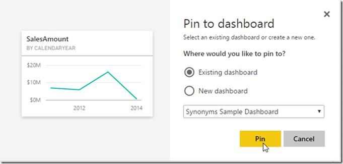 Power BI Service Dashboard Pin Visual