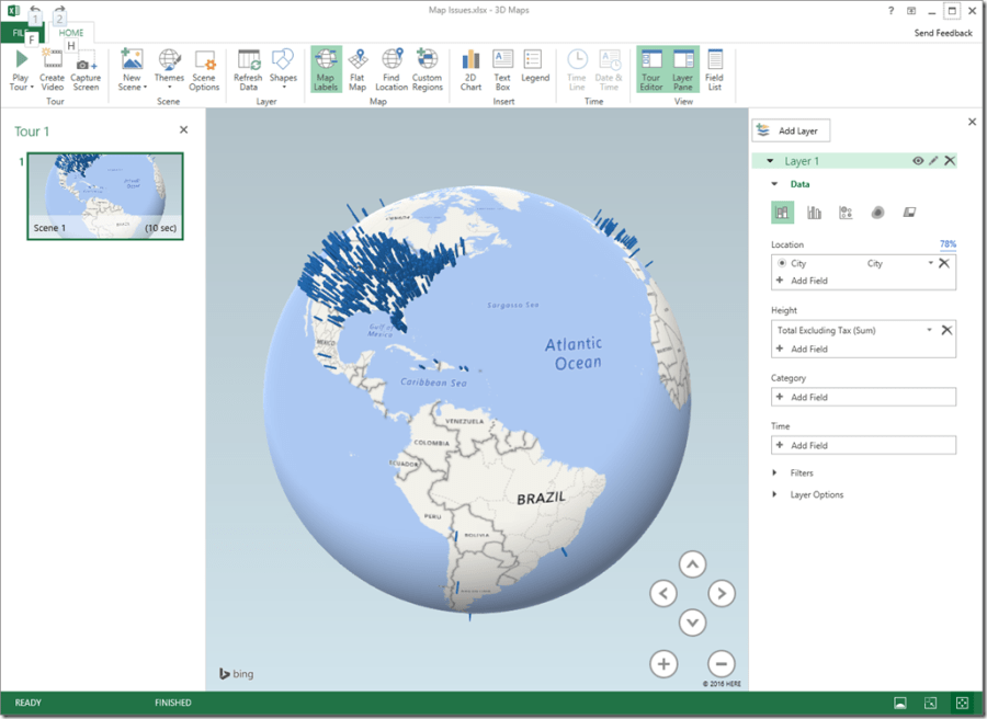Excel 2016 Power Map