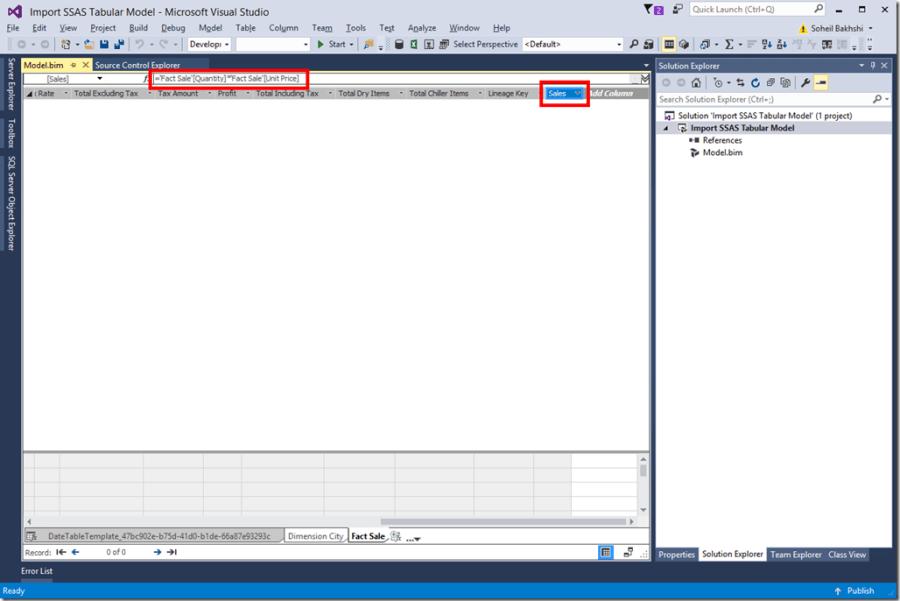 Import SSAS Tabular Model to SSDT
