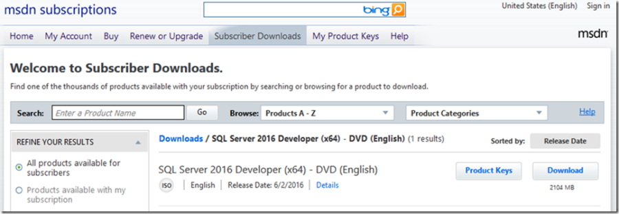 SQL Server 2016 Developer Edition from MSDN