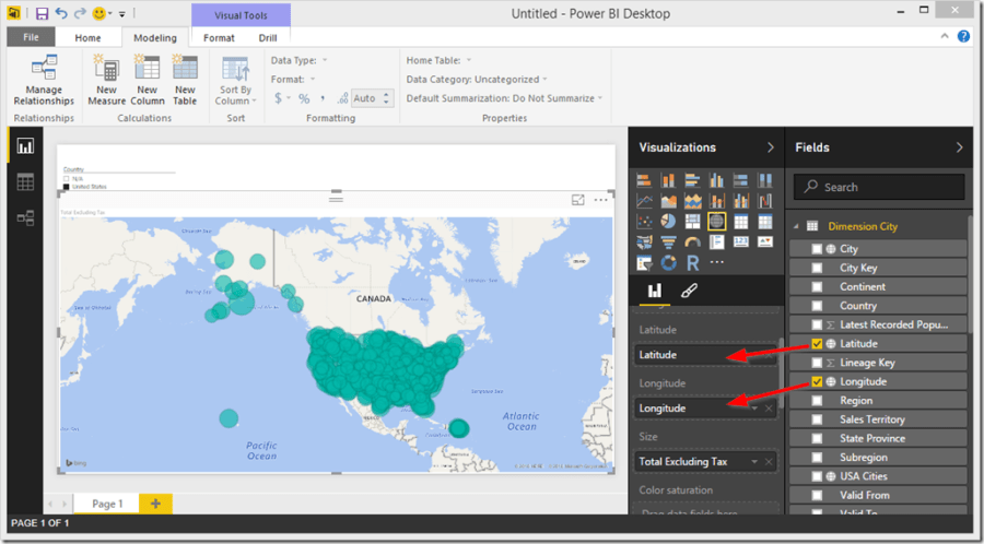 Power BI Desktop Map Latitude Longitude
