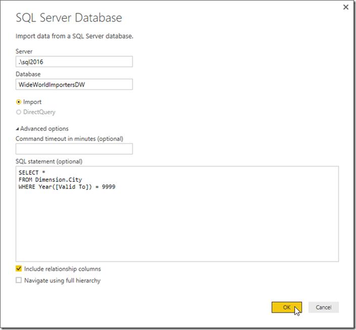 Power BI Desktop Get Data SQL Statement