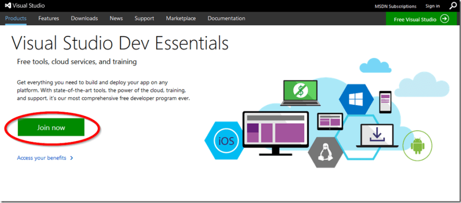 加入Visual Studio Dev Essentials