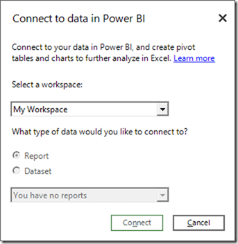 Shared data is NOT available in Power BI Publisher for Excel