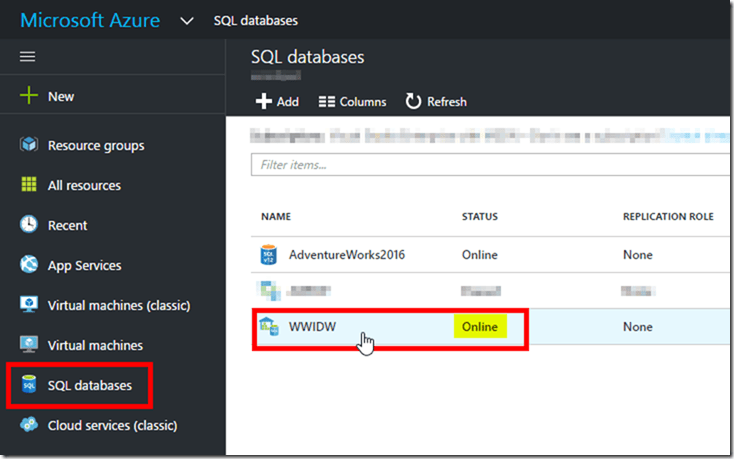 Azure SQL Data Warehouse in Azure Portal