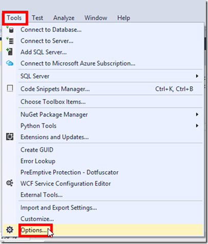 Visual Studio 2015 Options