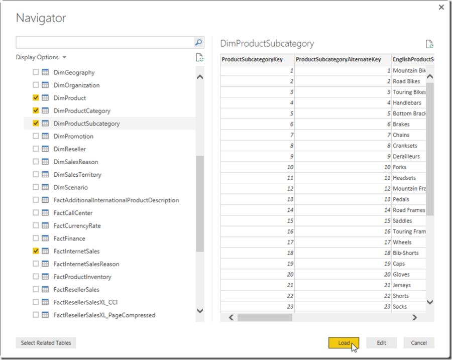 Power BI Desktop Loading Data into the Model