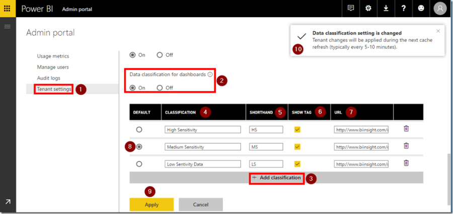 Power BI Data Classification Settings
