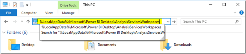 Power BI Desktop Temp Folder