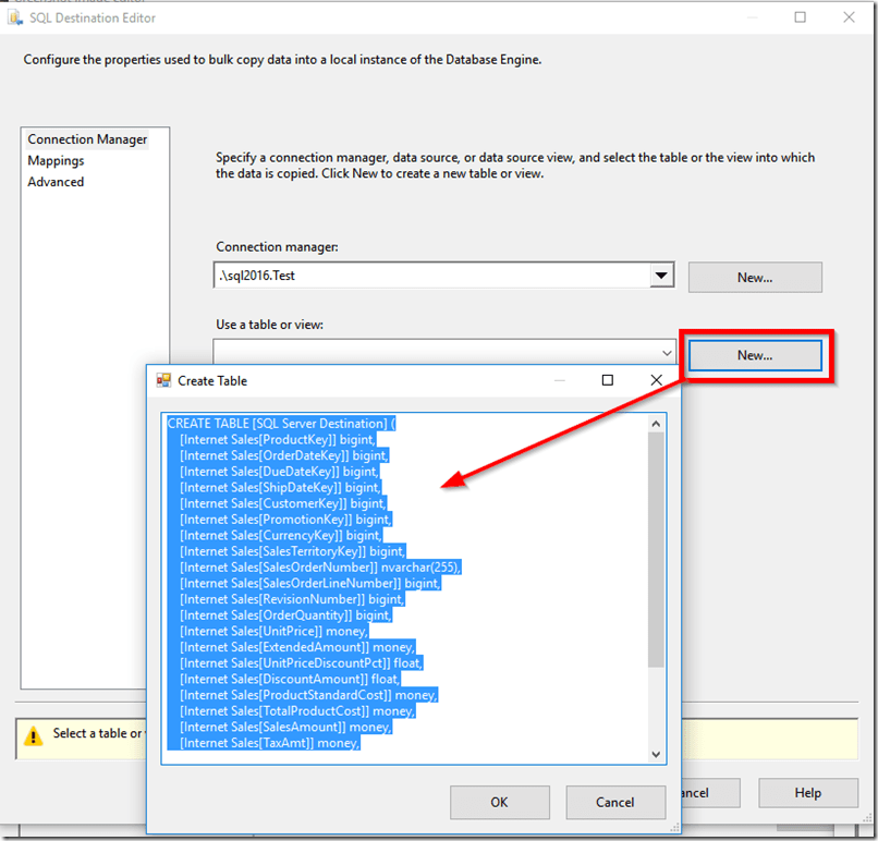 Creating New Table in SQL Server from SSIS