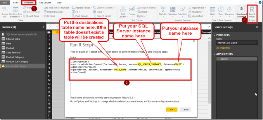 Exporting Power BI Data to SQL Server with R