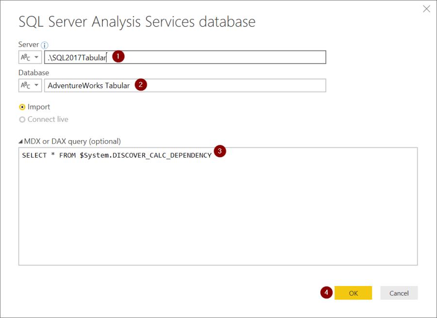 Import SSAS Tabular Metadata to Power BI