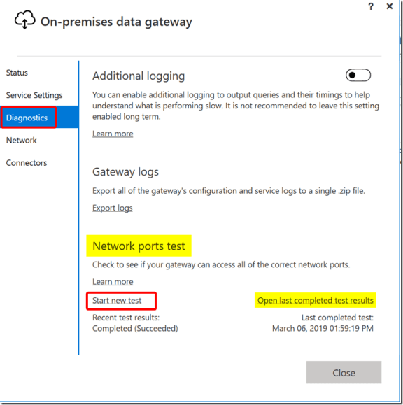 Network Ports Test in On-premises Data Gateway
