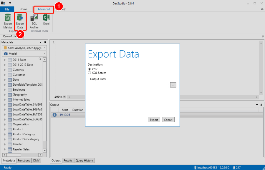 DAX Studio Export Power BI Model Data to CSV