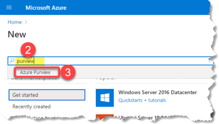 Searching for Purview resource in Azure Portal