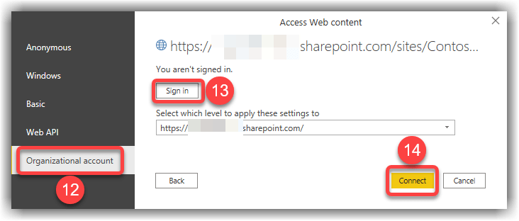 Passing credentials for an Organizational Account to access Excel date from SharePoint Online in Power BI Desktop