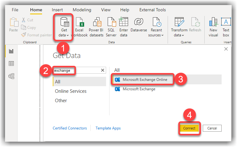 Power Query connection to Microsoft Exchange