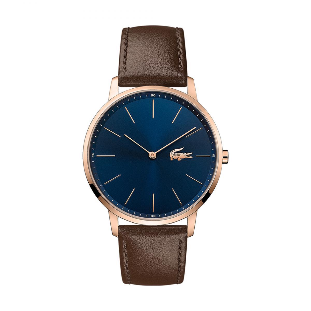 montre lacoste moon 2011018 montre affichage analogique bracelet cuir marron homme